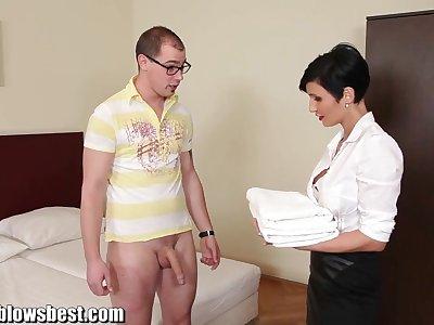 MommyBB Busty euro MILF Maid sucks the hotel client