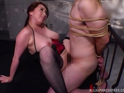 Busty Japanese milf serfdom porn with obedient darling