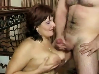 Russian mature Mom and their way boy! Amateur!