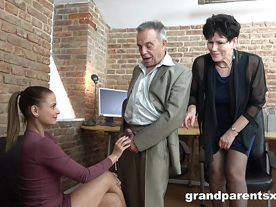 Office group sex between two matures plus two younger kindred