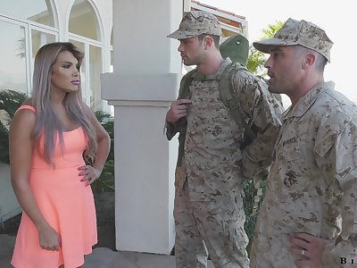 Army officer makes soldier to give a blowjob to fucking hot wife Mercedes Carrera