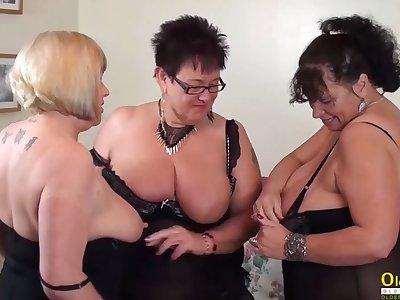 OldNannY Swishy Trisha Threesome Lesbian Party Masturbation