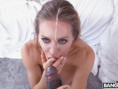Closeup video of unpredictable intensify pornstar Nicole Aniston riding a ebon dick