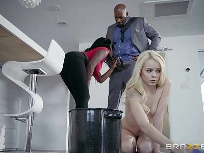 Needy young kirmess shares a BBc with the brush black stepmom