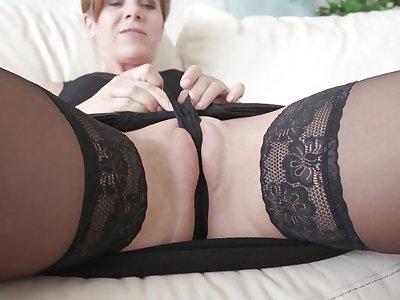 Cock hungry mature Sasha Zima opens her legs to masturbate