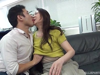 Fine Japan mature undresses for cock after sharp-witted foreplay